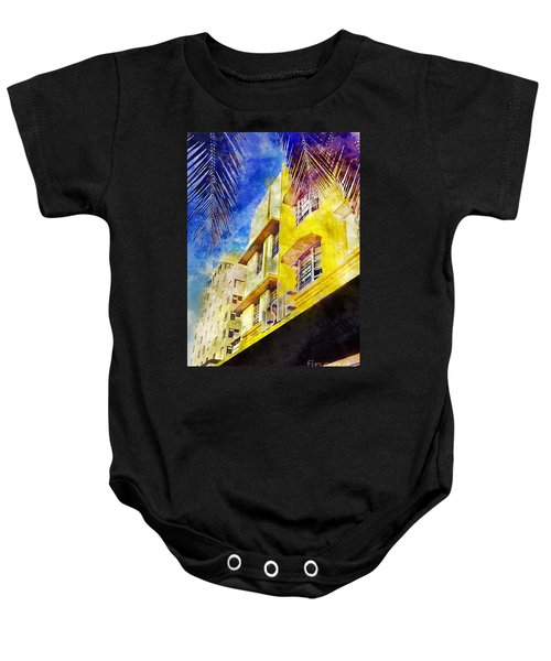 The Leslie Hotel South Beach Baby Onesie by Jon Neidert