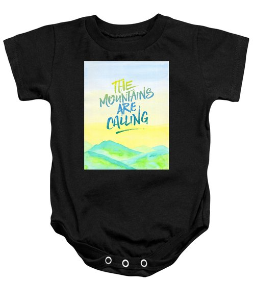 The Mountains Are Calling Yellow Blue Sky Watercolor Painting Baby Onesie
