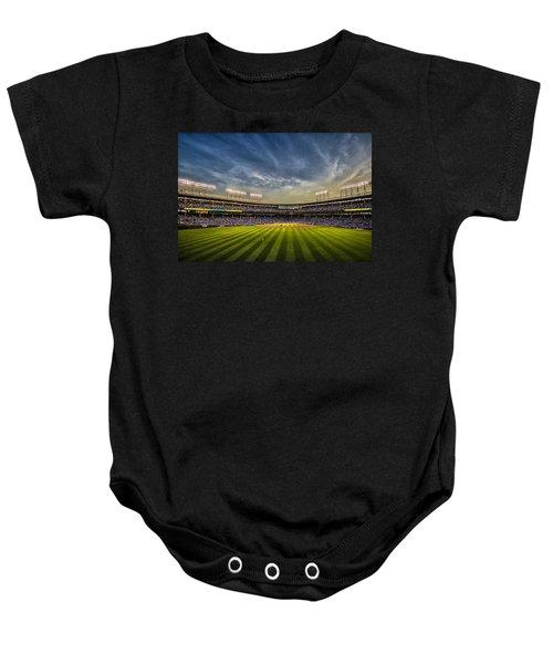 The New Wrigley Field With Pretty Sunset Sky Baby Onesie