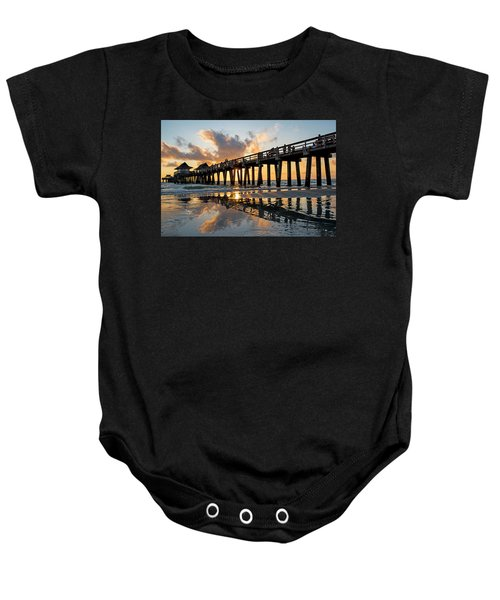 Naples Pier At Sunset Naples Florida Ripples Baby Onesie