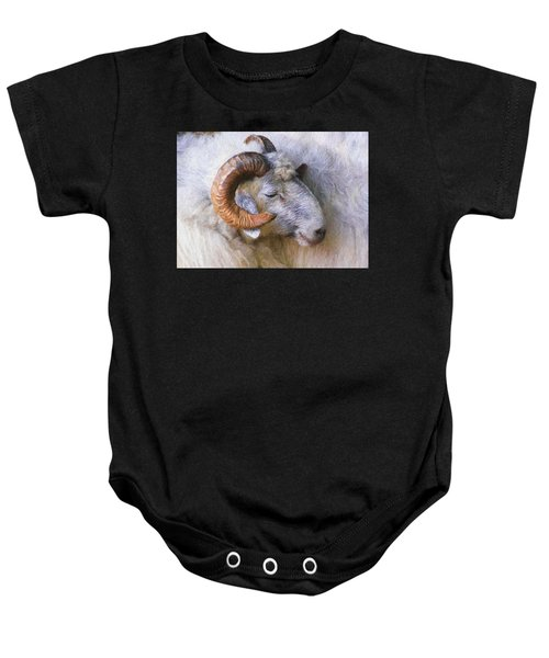 Baby Onesie featuring the digital art The Ram by Charmaine Zoe