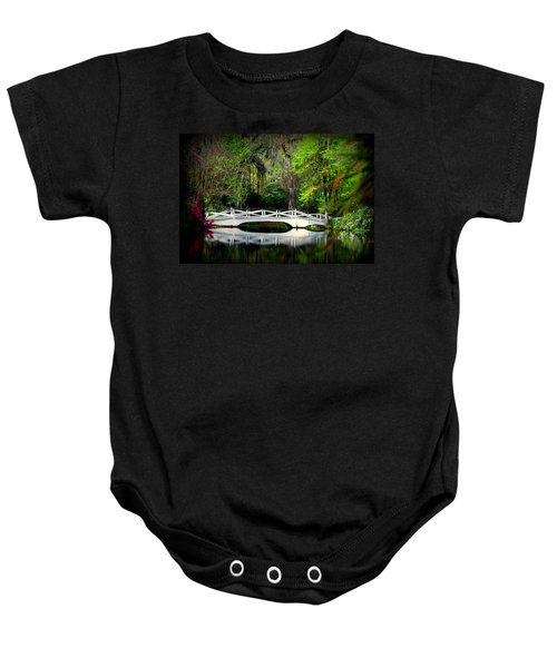 The White Bridge In Magnolia Gardens Sc Baby Onesie