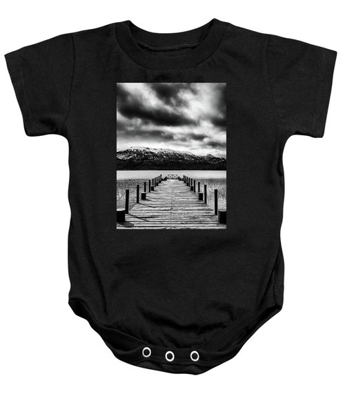 Landscape With Lake And Snowy Mountains In The Argentine Patagonia - Black And White Baby Onesie