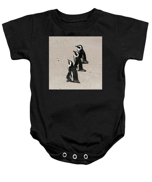 Three African Penguins Baby Onesie