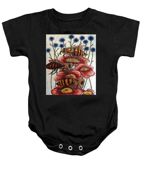 Three Busy Bees Baby Onesie
