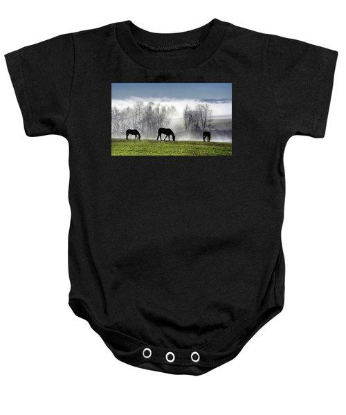Three Horse Morning Baby Onesie