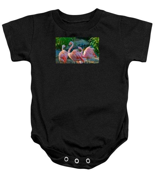 Three Pink Flamingos Strutting Their Stuff Baby Onesie