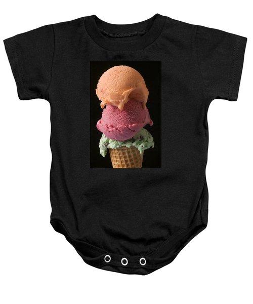 Three Scoops Of Ice Cream  Baby Onesie