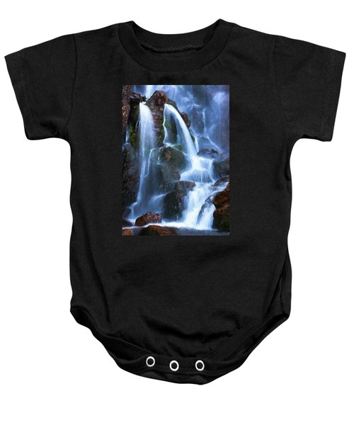 Baby Onesie featuring the digital art Timberline Falls by Charmaine Zoe