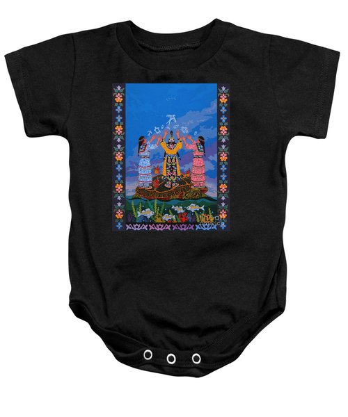 Baby Onesie featuring the painting Together We Over Come Obstacles by Chholing Taha
