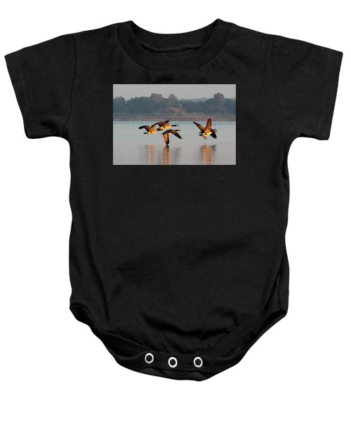 Touching Down At Sunrise Baby Onesie
