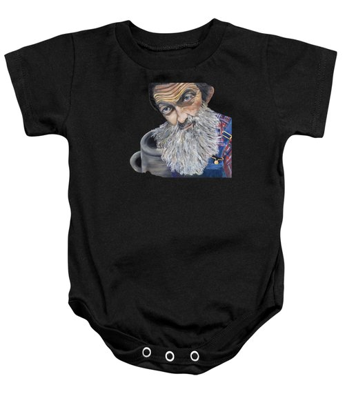 Popcorn Sutton Shines With Transparent Background -for T-shirts And Other Fabric Items- Moonshine Baby Onesie