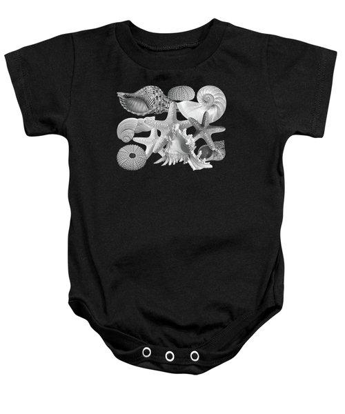 Treasures Of The Deep In Black And White Baby Onesie
