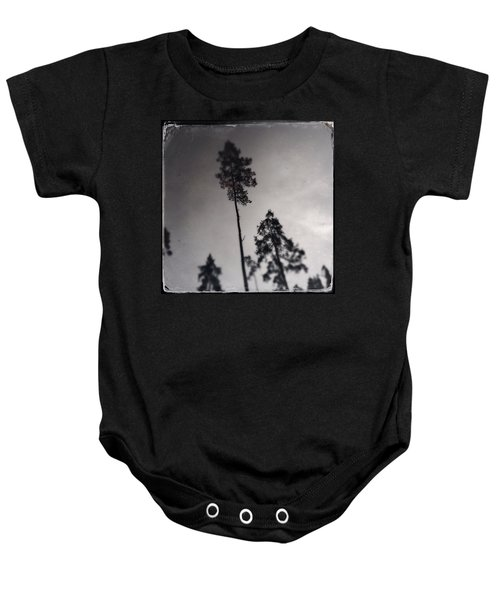Trees Black And White Wetplate Baby Onesie