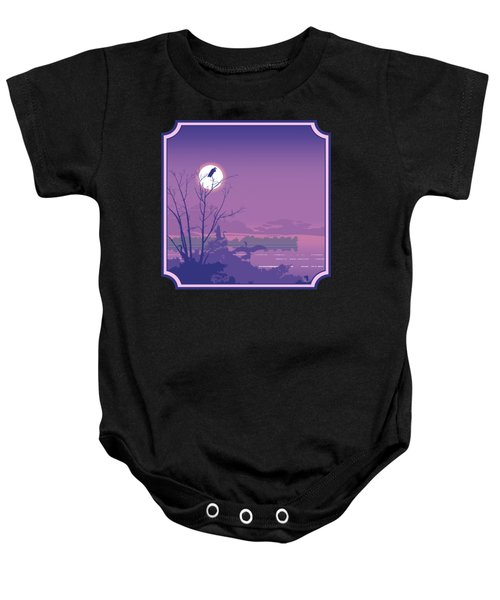Tropical Birds Sunset Purple Abstract - Square Format Baby Onesie