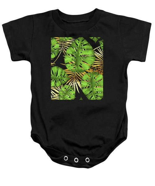 Tropical Haze Noir Green Monstera Leaves, Golden Palm Fronds On Black Baby Onesie