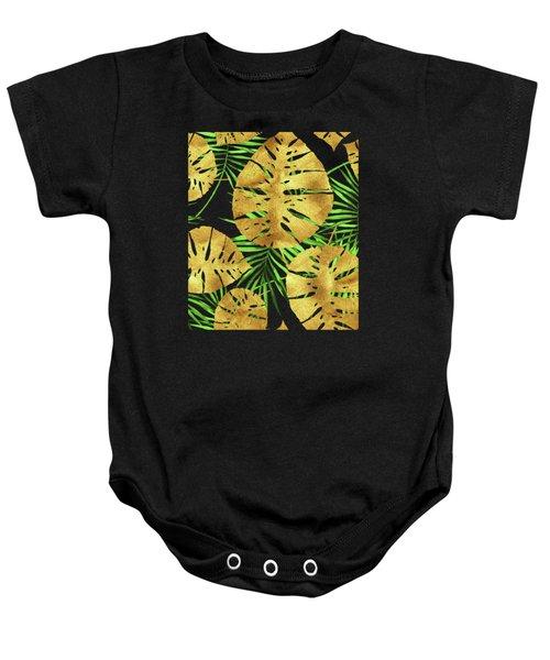 Tropical Haze Noir II Gold Monstera Leaves, Green Palm Fronds Baby Onesie