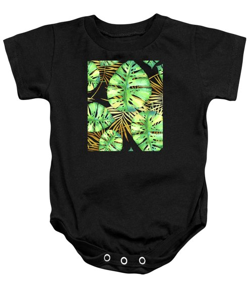 Tropical Haze Noir Variegated Monstera Leaves, Golden Palm Fronds On Black Baby Onesie