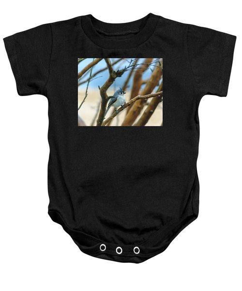 Tufted Titmouse In Tree Baby Onesie