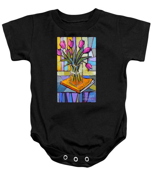 Tulips And Van Gogh - Abstract Still Life Baby Onesie