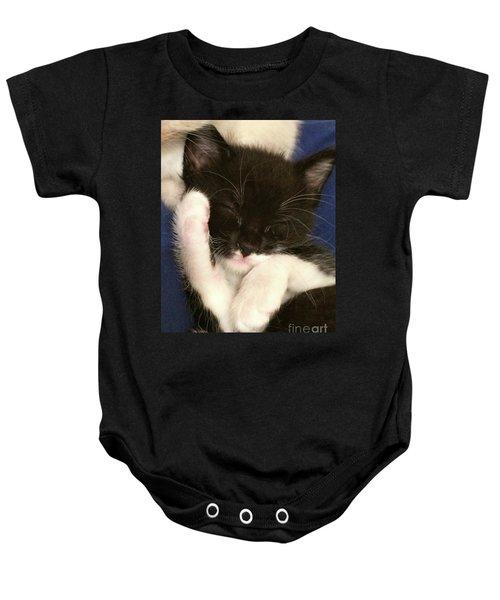 Tuxedo Kitten Snoozing Baby Onesie