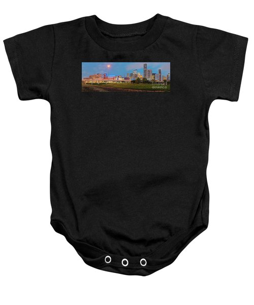 Twilight Panorama Of Downtown Houston Skyline And University Of Houston - Harris County Texas Baby Onesie