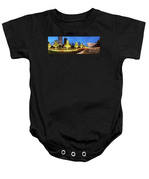 Twilight Panorama Of Klyde Warren Park And Downtown Dallas Skyline - North Texas Baby Onesie