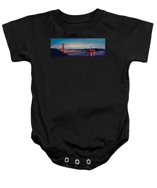 Twilight Panorama Of The Golden Gate Bridge From The Marin Headlands - San Francisco California Baby Onesie