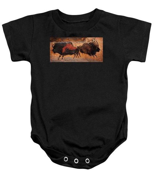 Two Bisons Running Baby Onesie