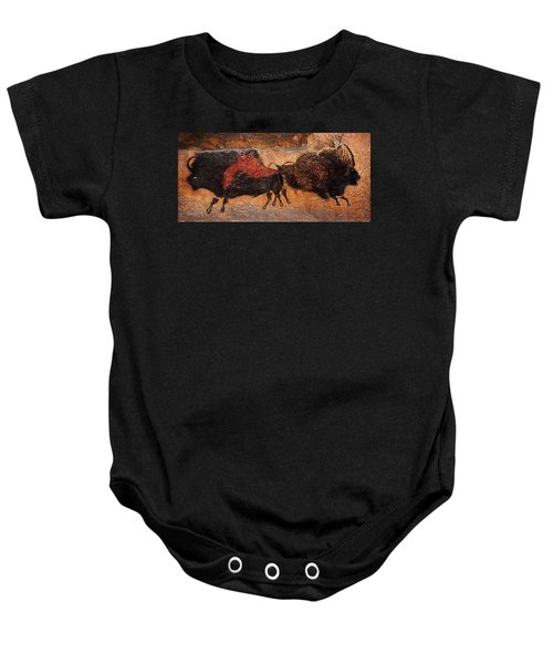 Two Bisons Running Baby Onesie