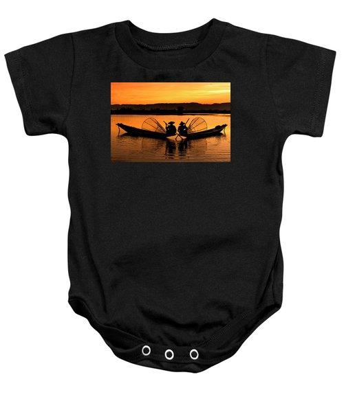 Two Fisherman At Sunset Baby Onesie