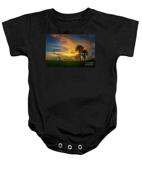 Two Palm Silhouette Sunrise Baby Onesie