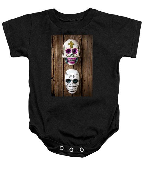 Two Skull Masks Baby Onesie
