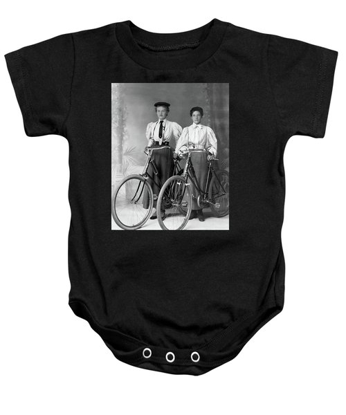 Two Young Ladies With Their Bicycles Circa 1895 Baby Onesie