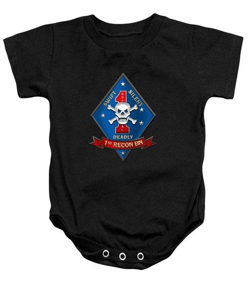 U S M C  1st Reconnaissance Battalion -  1st Recon Bn Insignia Over Black Velvet Baby Onesie