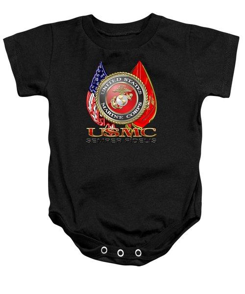U. S. Marine Corps U S M C Emblem On Black Baby Onesie