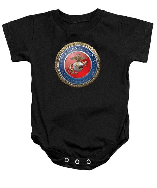 U. S.  Marine Corps  - U S M C  Seal Over Black Velvet Baby Onesie