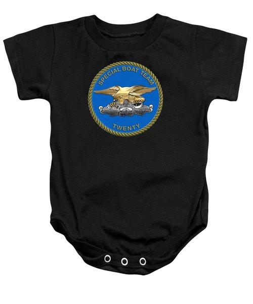 U. S. Navy S W C C - Special Boat Team 20   -  S B T 20   Patch Over Black Velvet Baby Onesie