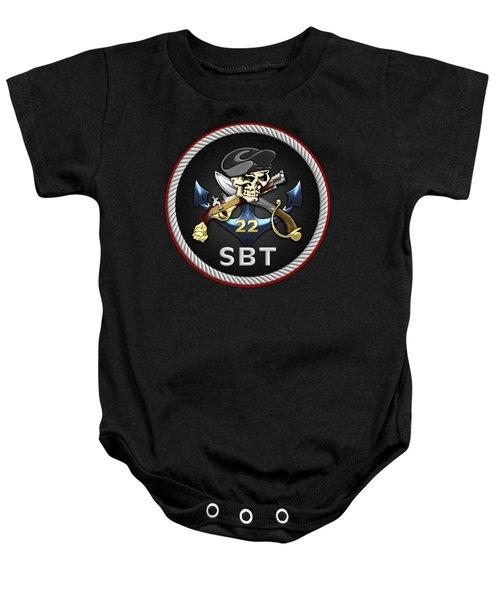 U. S. Navy S W C C - Special Boat Team 22  -  S B T 22  Patch Over Black Velvet Baby Onesie