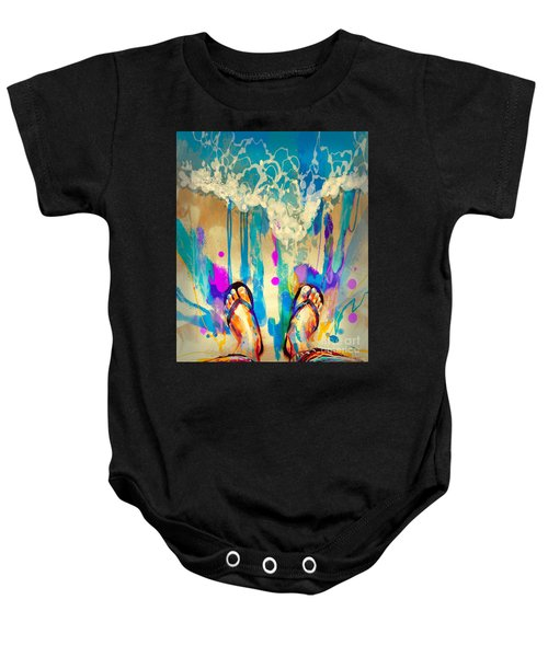 Baby Onesie featuring the painting Vacation Time by Tithi Luadthong