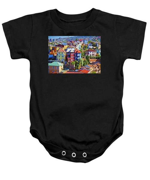 Baby Onesie featuring the digital art Valparaiso  by Charmaine Zoe