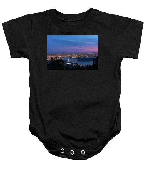 Vancouver Bc Cityscape Lions Gate Bridge Sunset Baby Onesie