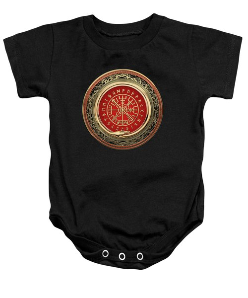 Vegvisir - A Gold Magic Viking Runic Compass On Black Leather Baby Onesie