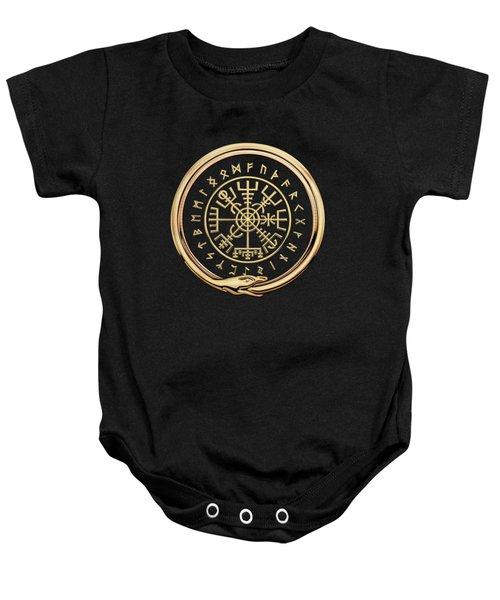 Vegvisir - A Magic Icelandic Viking Runic Compass - Gold On Black Baby Onesie