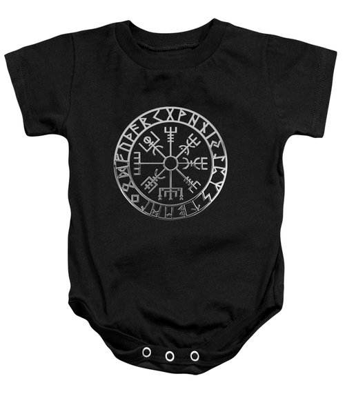 Vegvisir - A Magic Icelandic Viking Runic Compass - Silver On Black Baby Onesie