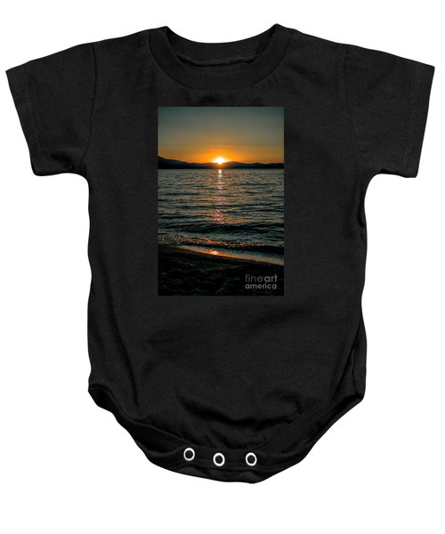 Vertical Sunset Lake Baby Onesie