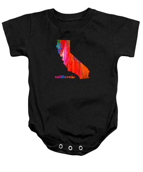 Vibrant Colorful California State Map Painting Baby Onesie