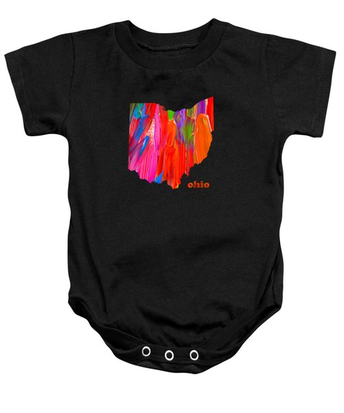 Vibrant Colorful Ohio State Map Painting Baby Onesie