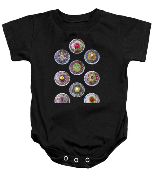 Vibrant Floating Flowers On Black Baby Onesie