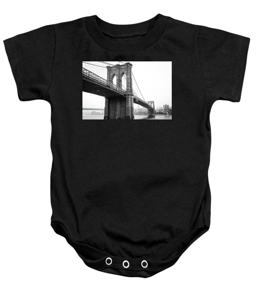 View Brooklyn Bridge With Foggy City In The Background Baby Onesie